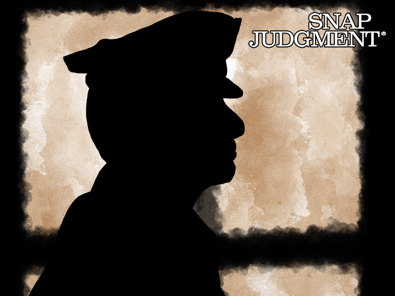 The silhouette of a police officer.