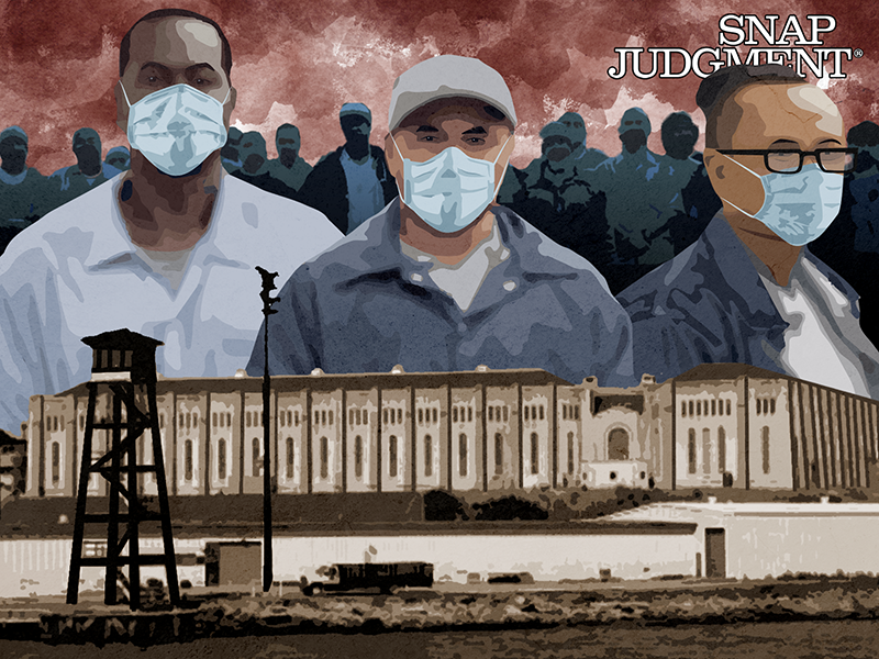 Three men in masks in front of San Quentin State Prison.