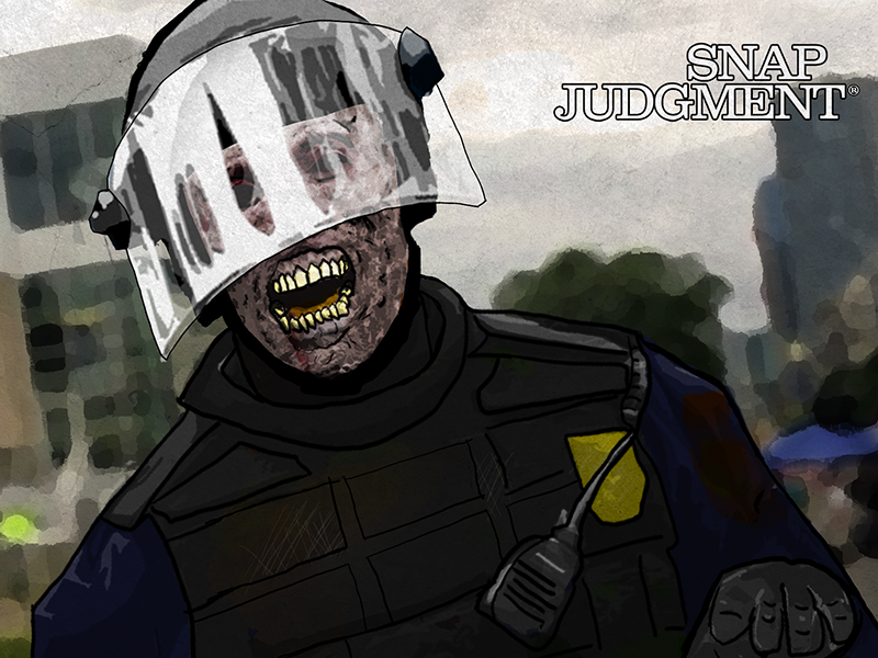 A zombie cop with its mouth wide open