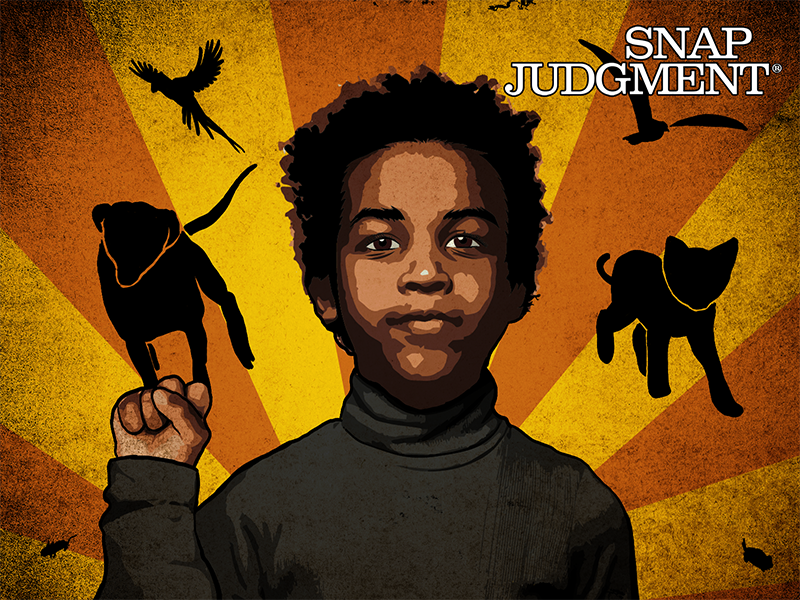 A young boy holding up his right hand in a fist, silhouettes of animals are in the background.