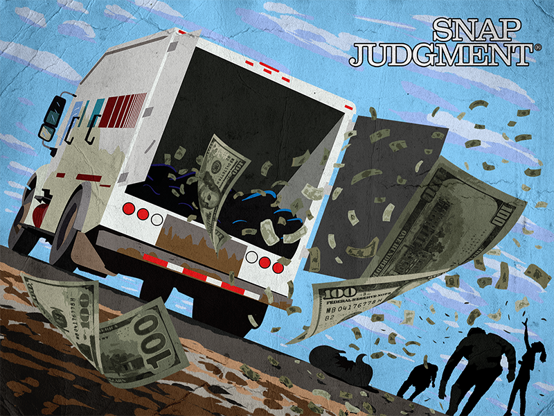 A truck in motion, its back doors are open and cash is flying into the sky. People are in the distance reaching for the money.