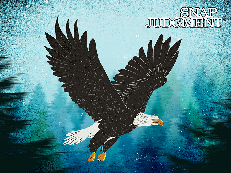 A giant bald eagle flying over a forest, with wings outstretched.
