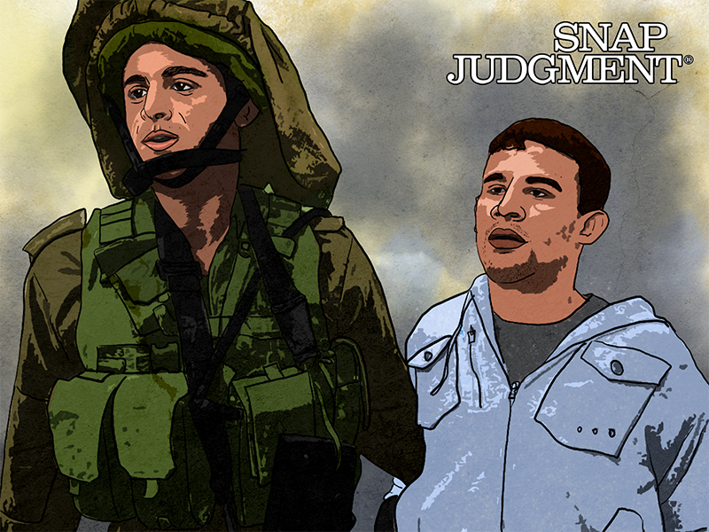 Two men with serious looks on their faces. One is an Israeli soldier and one is a Palestinian civilian.