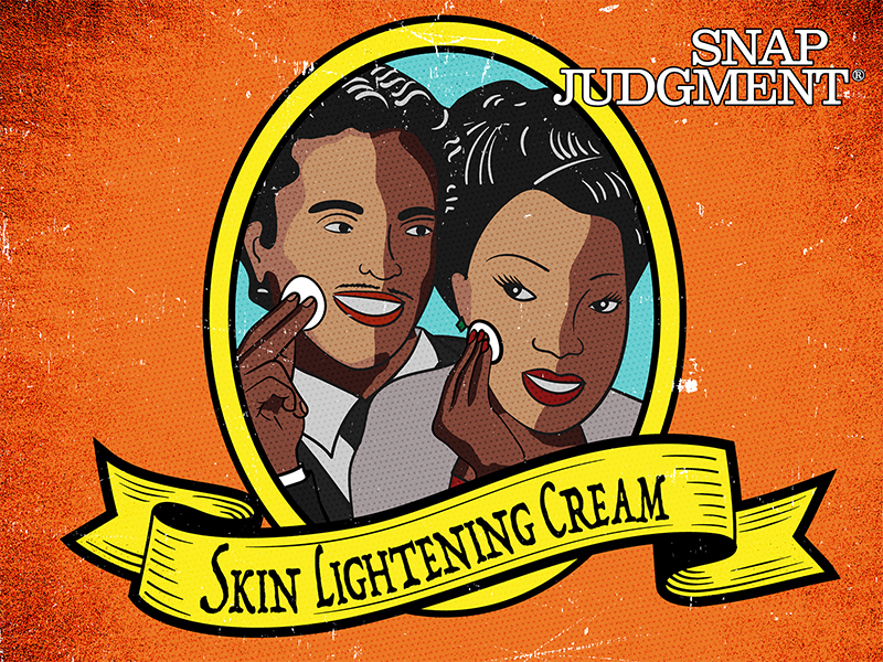A man and woman applying skin lightening cream. Their faces are two colors, one on each side.