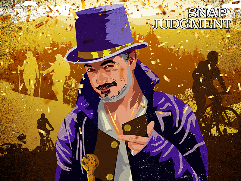 A man is in a purple suit and hat smirking with mountains and trees in the distance. There are hikers and bikers on the mountain trails. There is gold confetti falling.